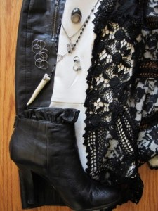 Beatnik outfit collage of opposites: Black and white, leather and lace, contemporary and reclaimed vintage.