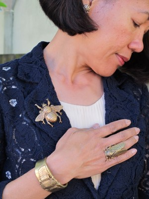 Piling on the insect jewelry!