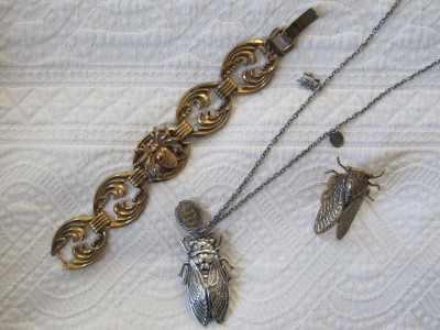Vintage reclaimed spider bracelet by M.E. Moore (Gorgeous & Green, Berkeley), beloved cicada necklace by Lotta & Djossou (Lava 9, Berkeley), and cicada ring (End of Century, NYC).