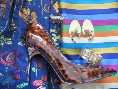 Continue the shine factor with pumps and gold jewelry (End of Century, NYC, cicada ring, earrings from Anthropologie, and cuff by Alkemie, Los Angeles.