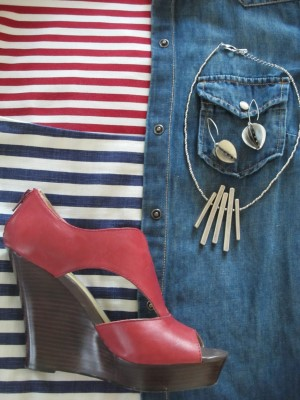 Red, white, and denim, with architectural elements.