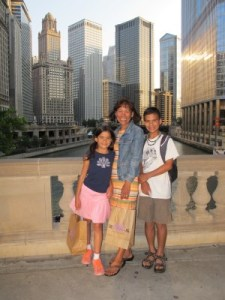 Me and my kids, my heart and soul, downtown, along the Chicago River.
