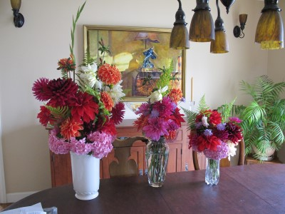 A bountiful summer - three bouquets from one clipping.