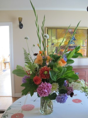 A late June bouquet for our middle school auction bid winner. The deer kept away from the front-yard gladiolas this year!