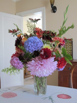 Bursting out the vase: My July bouquet for the our Portola Middle School's auction winner.