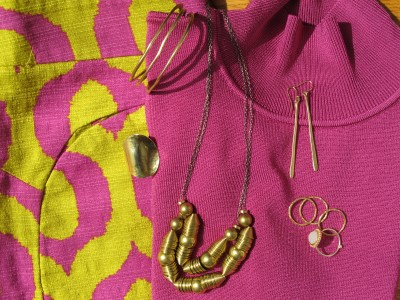 Simple accessories are best when the patterns and colors of your outfit are loud: Sundance cuff and rings, Anthropologie wide ring, and Laura Lombardi reclaimed brass necklace (Eskell, Chicago).