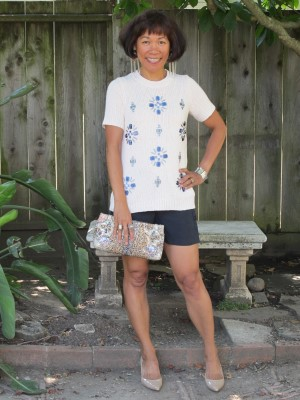 Summer shorts are ready for my daughter's drama camp play. Silk shorts are paired with a bejeweled sweater and sequined clutch.