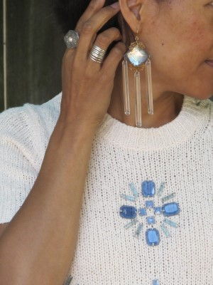 Who knew that a pair of Anthropologie chandelier earrings from a few years ago would match perfectly with this summer's bejeweled sweater?