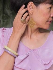 Carmela Rose vintage earrings, Lava 9 chunky ring (Berkeley, CA), and Anthropologie bangles.