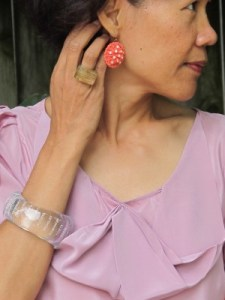 Mixing pink hues and orange: Gorgeous & Green reclaimed vintage earrings (Berkeley, CA), Lava 9 ring (Berkeley, CA), and Anthropologie clear bangle.
