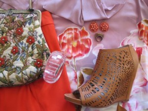 Adding a vintage embroidered purse from L' Armoire (Berkeley, CA), and Mea Shadow perforated wedges.
