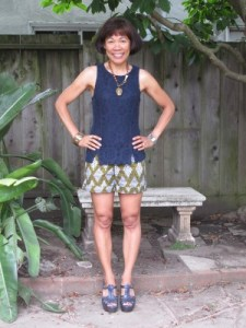 Definitely warm enough for shorts this Labor Day Weekend. Mixing lace and bold African patterns.