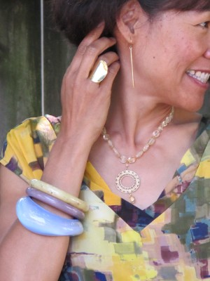 Carmela Rose necklace, Anthropologie ring and bangles, and Abacus earrings (Portland, ME).