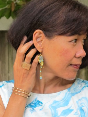 Earrings from Waterlily (Portland, ME), Lava 9 ring (Berkeley, CA), and Sundance cuff.