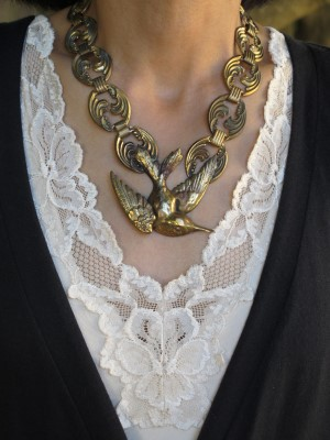 M.E. Moore reclaimed vintage necklace against lace (Gorgeous & Green, Berkeley, CA).