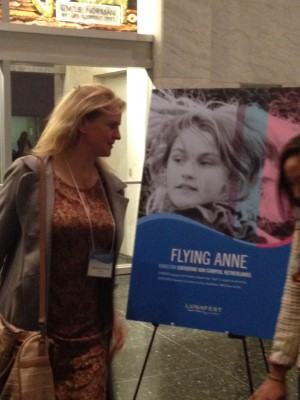 Catherine van Campen by her film poster for Flying Anne.