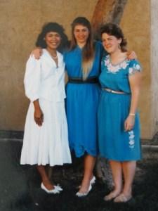 Susan's graduation day, June 1986. Timeless cotton dresses.