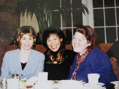 A tradition of Christmas high tea at the Palace Hotel in San Francisco, 1996. More scarves, blue, and black.