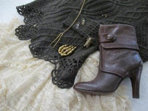 Frye heeled booties complete the sweater and lace combo.