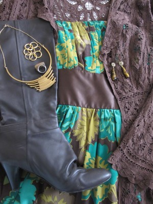 Add chunky ring (Lava 9, Berkeley, CA) and switch out for another Laura Lombardi necklace (Eskell, Chicago) for another look, with slouchy chocolate-brown boots for winter.