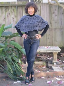 Feeling much better, with my blue-gray crocheted capelet and jeans.