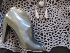 Gray booties and statement ring and silver earrings crafted by Miao Chinese artisans (Caravan Gallery, La Conner).