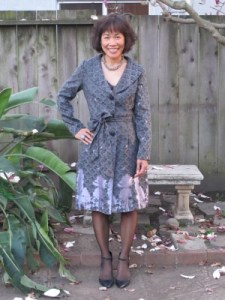 Celebrating Portola in a beautifully detailed Eva Franco print coat (Personal Pizazz, Berkeley, CA). A shout out to owner Laura Leventer, who pulled out this beauty for me.