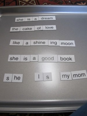 Isabella's magnetic poetry poem from summer 2013.