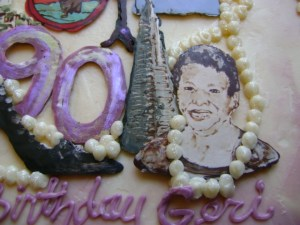 90th birthday cake close-up of these wonderful details.