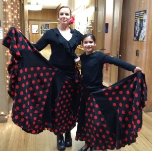 Isabella, aka Mini Me to flamenco mentor Tana Hakanson, at their March performance at the YWCA in Berkeley, CA.