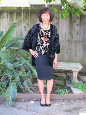 Contrasting the white calla lilies: Burnout black flowers on a Chinese-inspired blouse and Japanese-style kimono.
