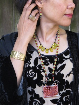 Adornments: Carmela Rose earrings and two necklaces (Jenny K, El Cerrito, CA), Lava 9 ring (Berkeley, CA), Alkemie scarab cuff.