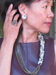 Vintage Kramer rhinestone earrings, Sundance ring, and J. Crew chunky necklace.