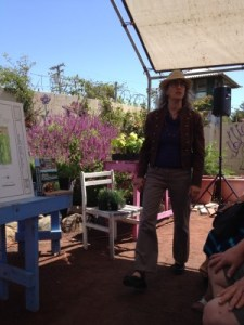 Rachel Kaplan gave an inspiring presentation under the tent at Annie's Annuals.