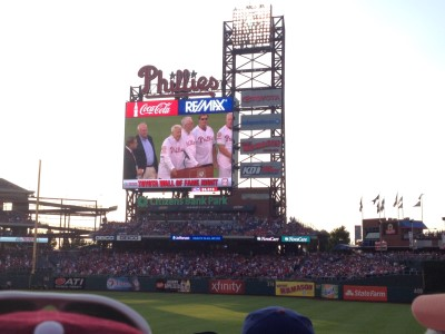 Former Phillies manager Charlie Manuel is right in your face with this crystal-clear HD jumbo screen.