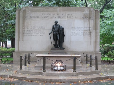 Washington Square's monument to the unknown Revolutionary soldier.