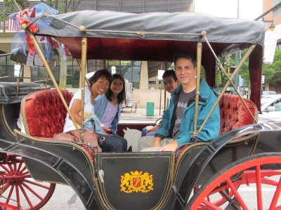 Carriage ride of the historic square mile over cloudy skies.