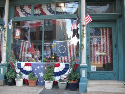 Appropriately, a flag shop is across from Betsy Ross's house.