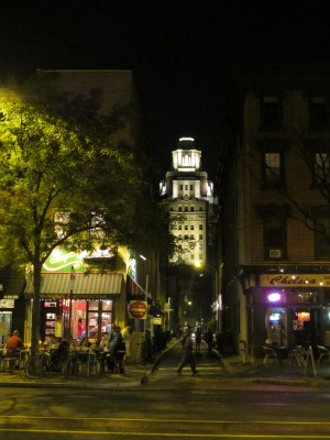 Market Street night life in Old City District, mixing historic with modern.