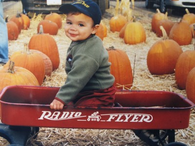 Jacob in the pumpkin patch, Fall 2001.