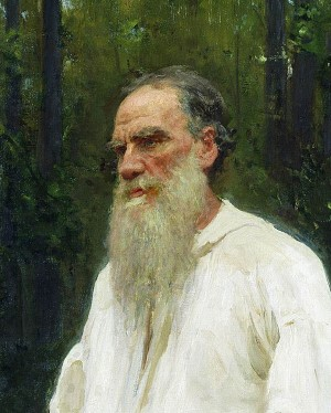 Close-up of painting of Leo Tolstoy by Ilya Repin, 1901.