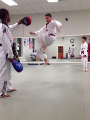 Flying high in tae kwondo.
