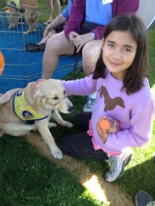 Isabella greeting rescue dogs at Picnic Day, UC Davis, April 2014.