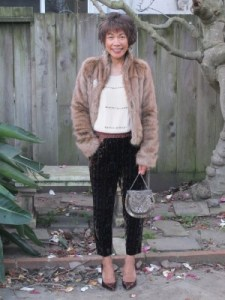 My New Year's Eve outfit - faux fur jacket, vintage pin, velvet burnout trousers, and pumps.