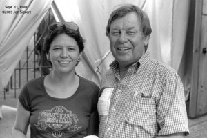 Jeanne and San Francisco jazz and blues critic Phil Elwood at the Windham Hill Festival, Greek Theater, Sept. 11, 1983.
