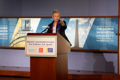 Jeanne speaking at a public forum hosted by the George Washington University School of Public Health and Health Services, the Breast Cancer Fund, and the H. John Heinz III Center for Science, Economics and the Environment, February 2013.