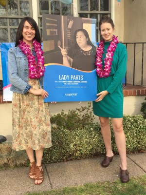 Our VIP event, hosted by our chair Joann Steck-Bayat, prior to the film festival featured our guest filmmakers Emily Fraser and Katherine Gorringe, posing with their Lady Parts LUNAFEST poster.