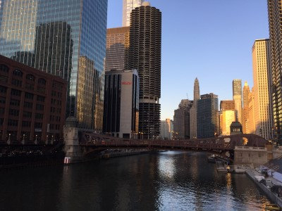 On my way to dinner my first evening in Chicago - a beautiful cityscape sunset on the Chicago River.