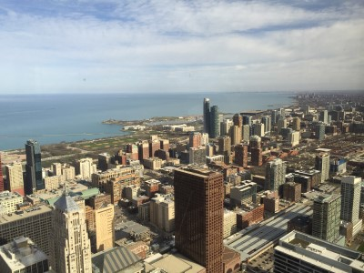 I've been to the top of Willis Tower, which was two blocks from my hotel, but for our client dinner my last evening in Chicago, we were treated to dinner at the Metropolitan Club on the 67th Floor.