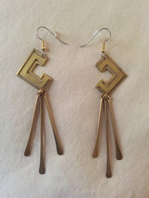 Vintage brass earrings designed by Eskell.